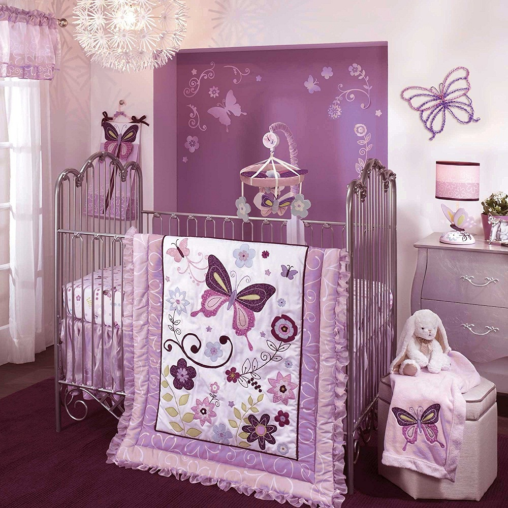 Image of: Purple Crib Bedding Sets For Girls