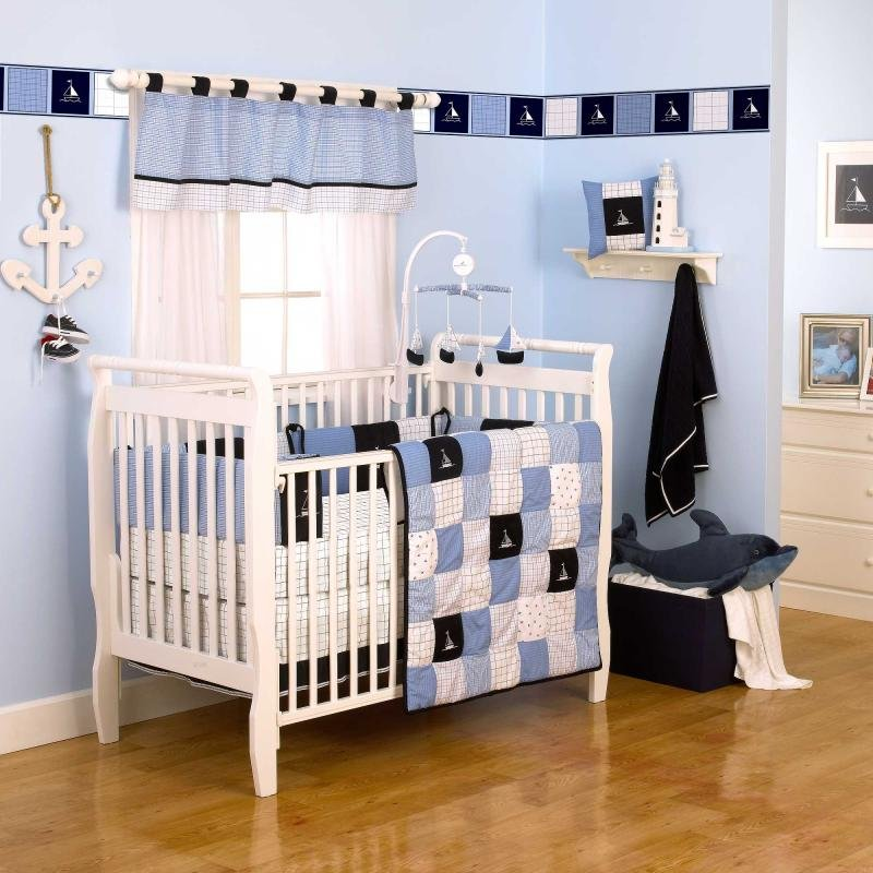 Image of: Sailboat Crib Bedding Nautical Baby Bedding Sailboat Nautical Nursery Bedding Ideas