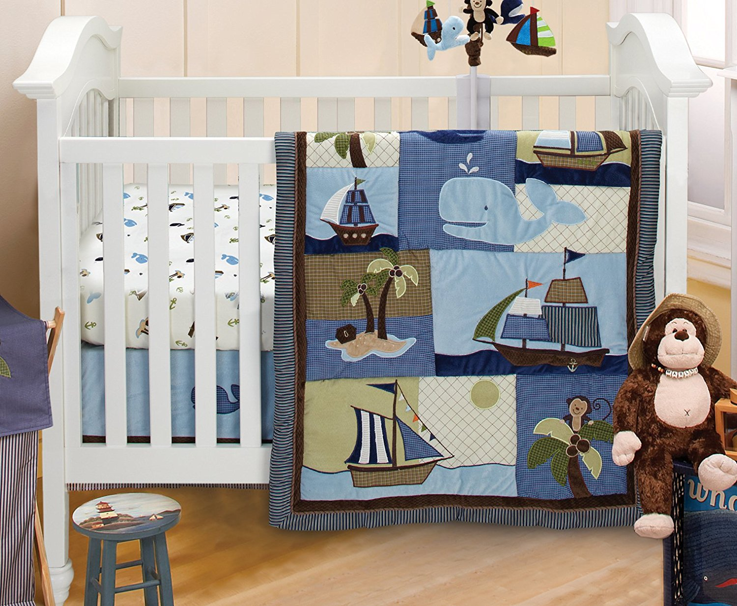 Image of: Sailboat Crib Bedding
