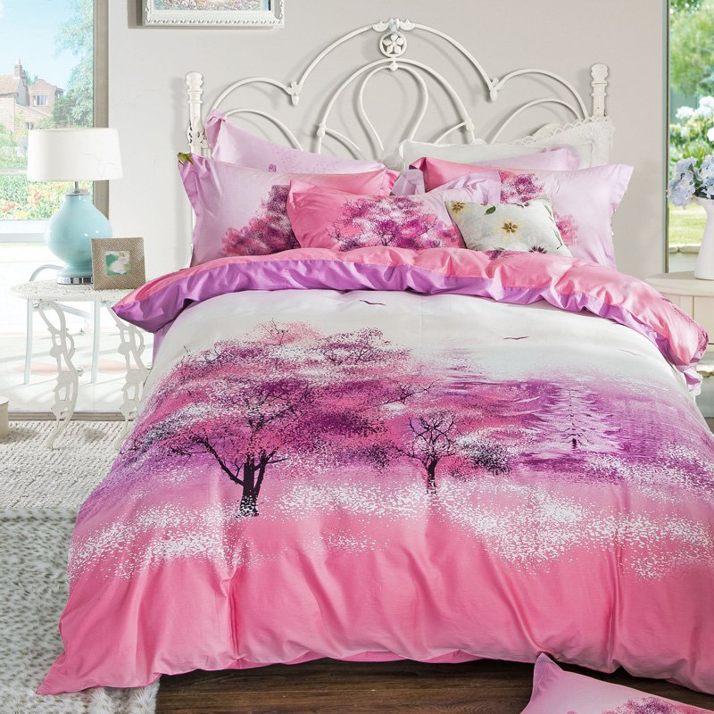 Image of: Sakura Cherry Blossom Tree Pink Purple Bedding Set Cotton Printed Home Textile Quilt Cover Purple Teal Bedding Sets For Girl
