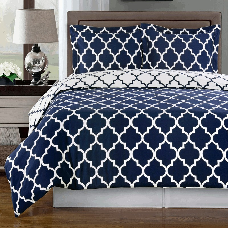 Image of: Simple Solid Navy Blue Comforter