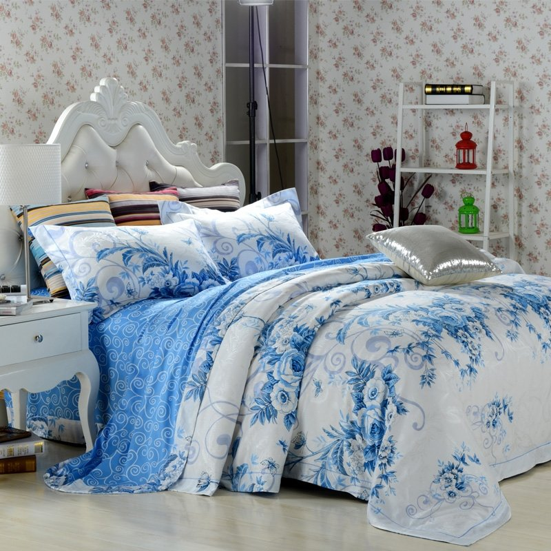 Image of: Sky Blue White Vintage Oriental Floral Jacquard 100 Relax and Escape Japanese Bed Set