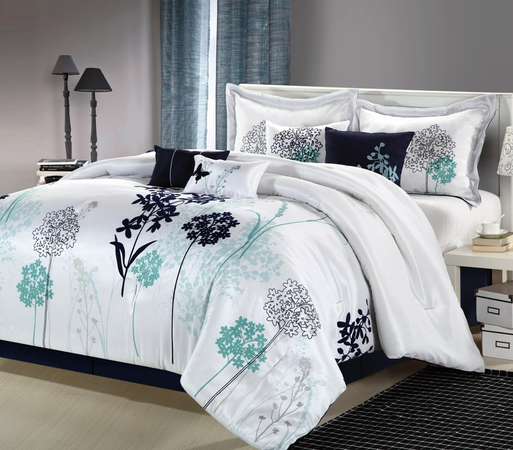 Image of: Teal Comforter Set Queen