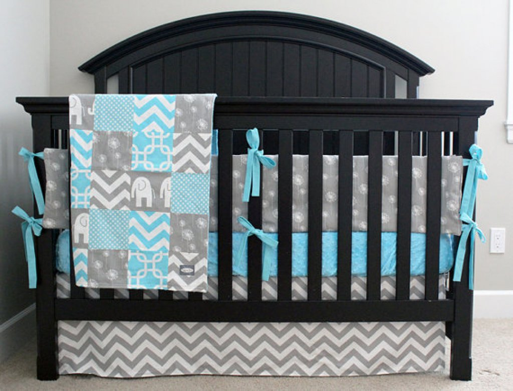 Image of: Teal Grey Baby Bedding Modern Bedding Bed Linen Cute Elephant Baby Girl Bedding Theme