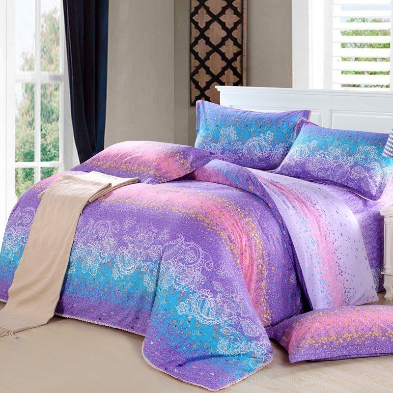 Image of: Teal Purple Bedding Decorate House Purple Teal Bedding Sets For Girl