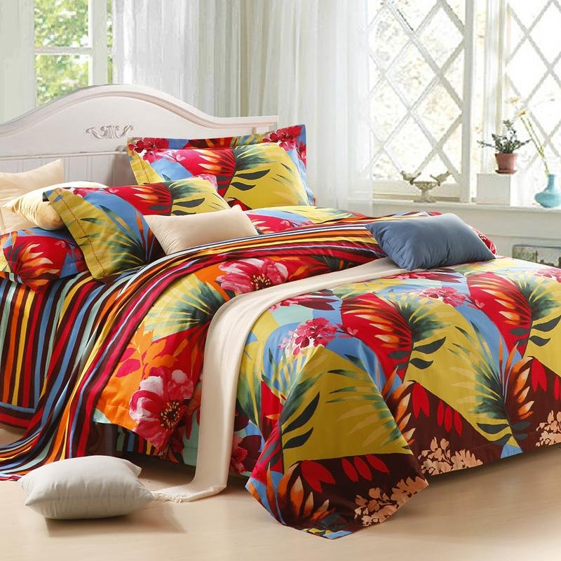 Image of: Tropical Theme Girl 100 Cotton Bedding Set Relax and Escape Japanese Bed Set
