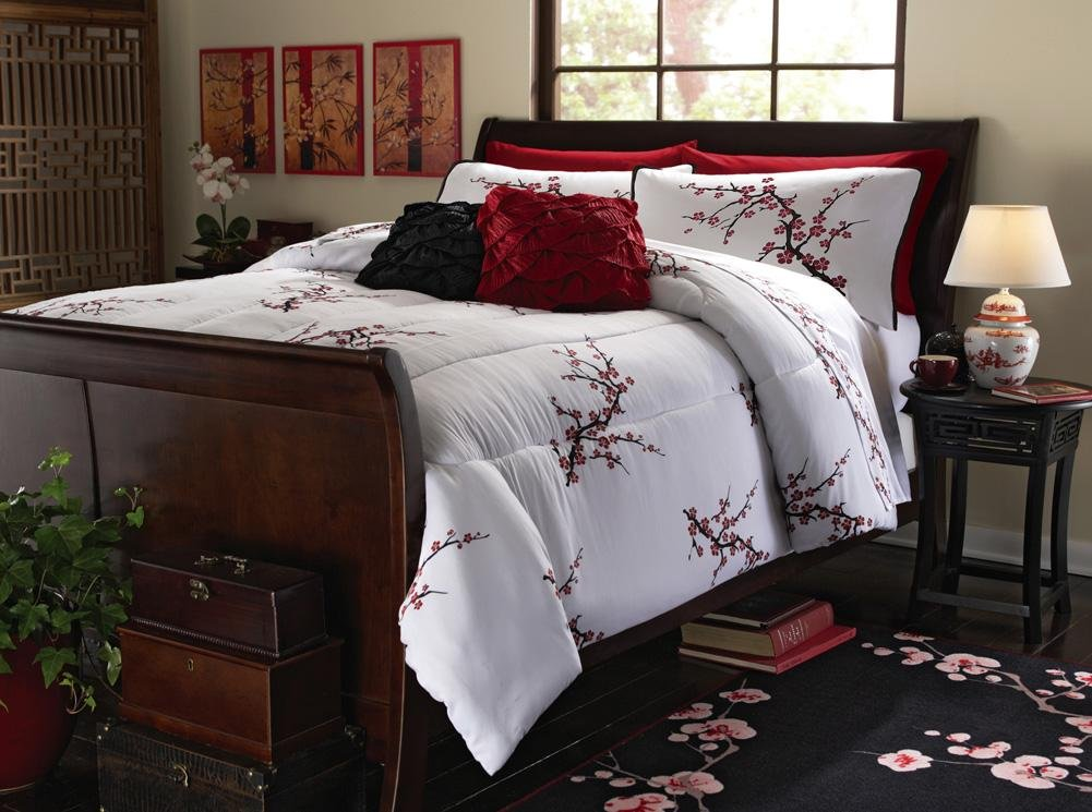 Image of: Unique Asian Inspired Cherry Blossom Light Comforter Relax and Escape Japanese Bed Set