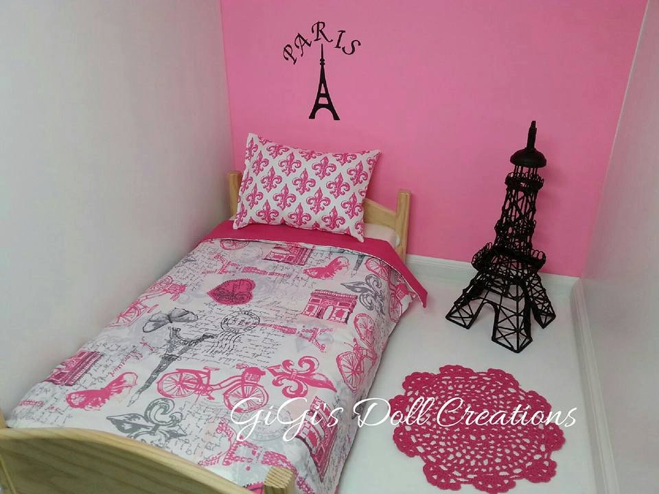 Image of: Vintage Pari Themed Bedding Fit American Girl Doll The Color Beige Paris bedding Set Queen