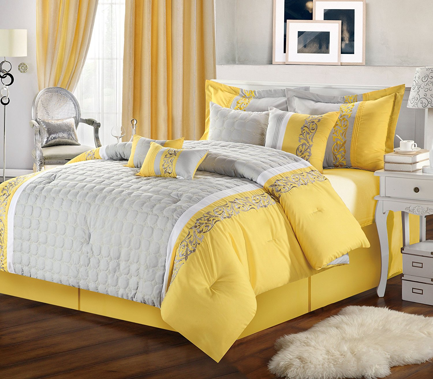 Image of: Yellow and Grey King Size Bedding Sets