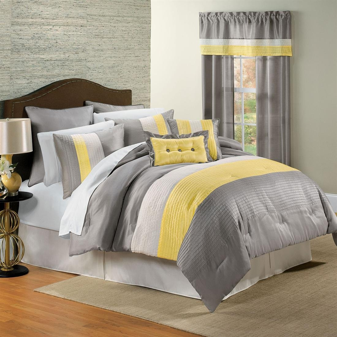 Image of: Yellow and Solid Grey Comforter Queen