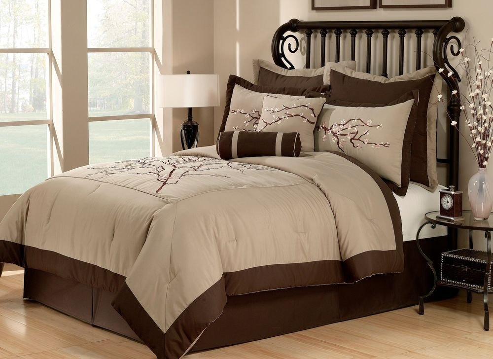 Image of: Zen 8pc Queen Comforter Set Cherry Blossom Asian Khaki Relax and Escape Japanese Bed Set