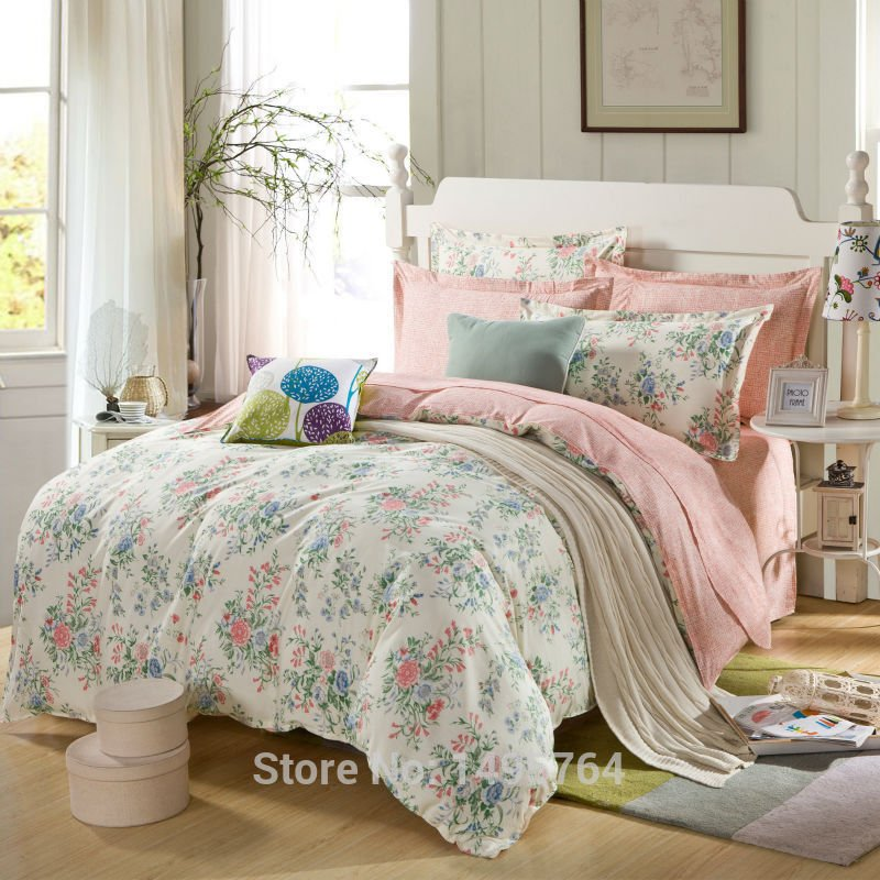 Image of: 100 Cotton Pink Rose Mint Green Bedding Set Romantic Interior French Country Bedding Sets