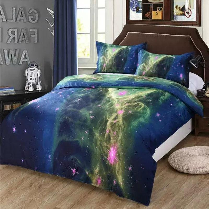 Image of: 3d White Unicorn Animal Bedding Set 4pc Polyester Galaxy Bed Set Queen Themed