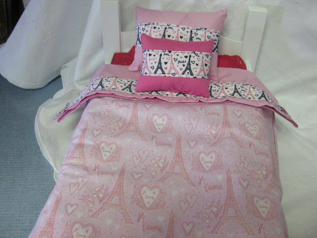 Image of: 4 Piece Pari American Girl Bedding Set Pillow Bedspread Top Fun Ideas Doll American Girl Bed Set