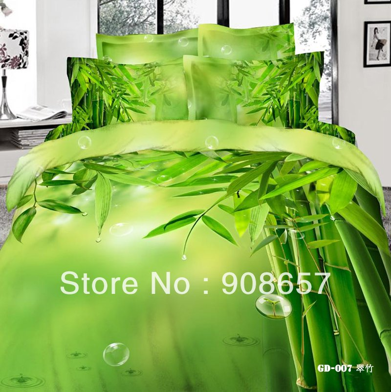 500 Thread Count Green Bamboo Printed Girl Bedding Set 3d Oil Painting Bed Linen Cotton 3d Bed Sets That Change Image Of Your Room