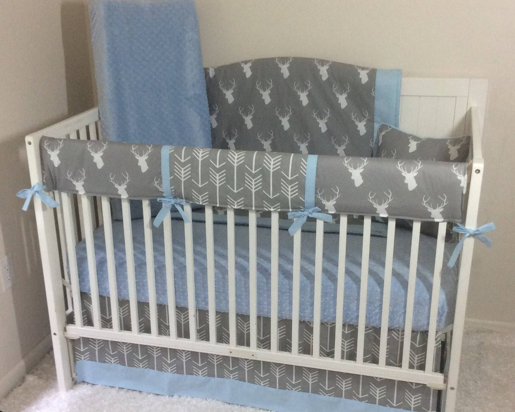 Baby Bedding Crib Set Light Blue Gray Stag Arrow The True Meaning Of Round Crib Bedding