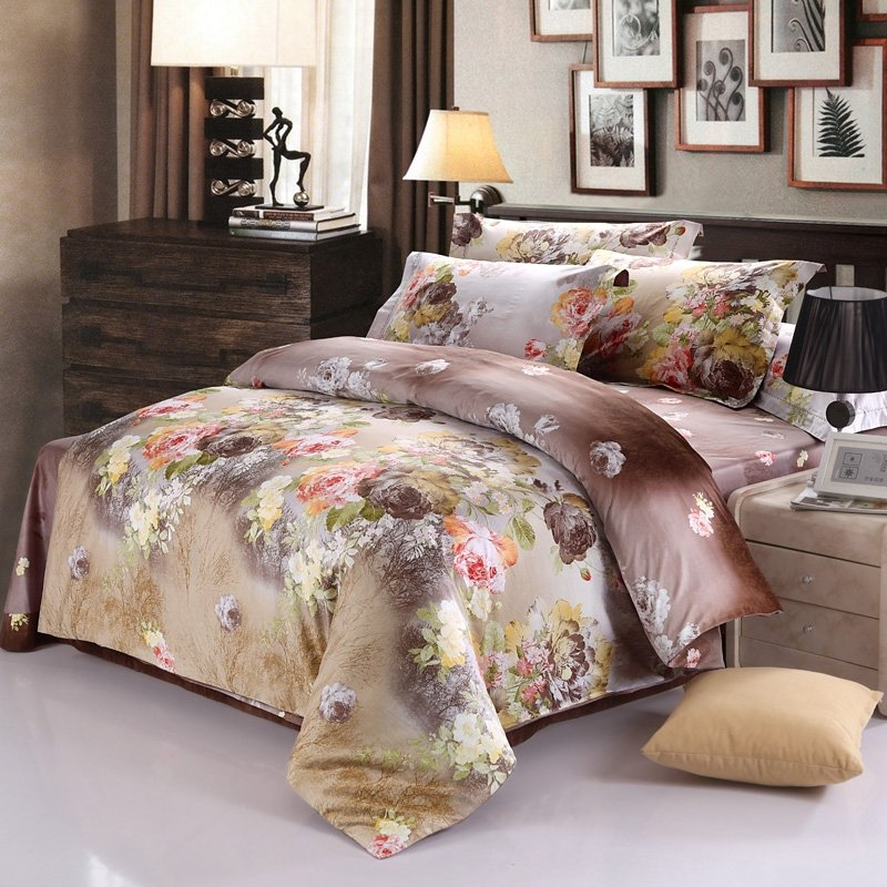 Image of: Brown Yellow Asian Inspired Oriental Flower Blossom Romantic Interior French Country Bedding Sets