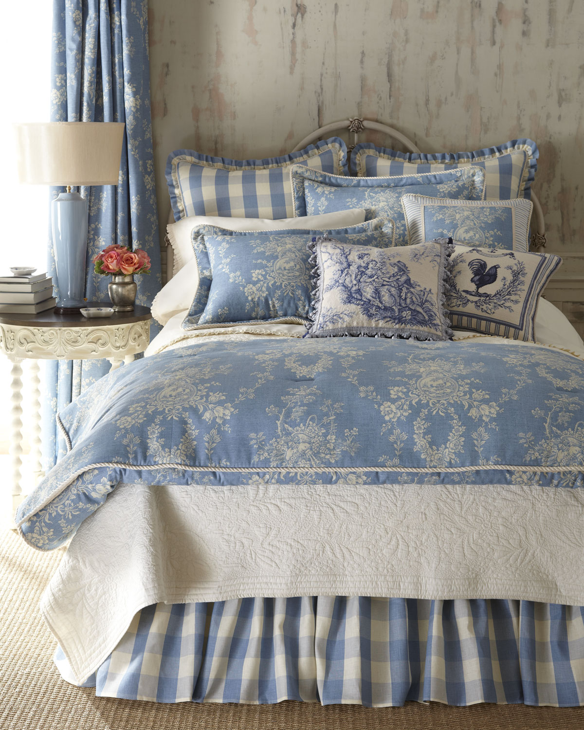 Image of: French Country Bedding Blue