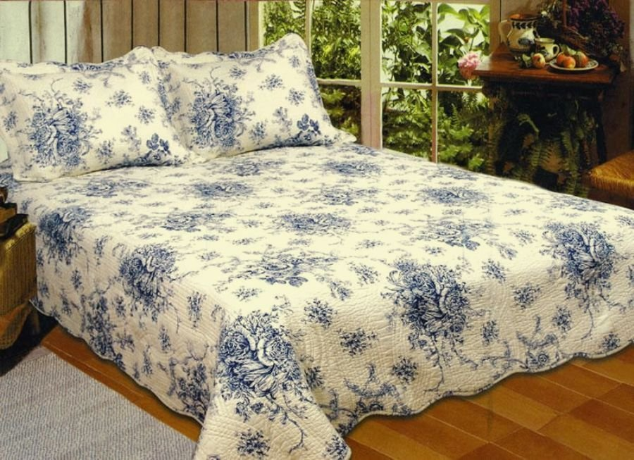 Image of: French Country Blue Rose King Quilt Set Cottage Romantic Interior French Country Bedding Sets