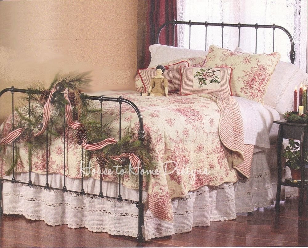 Image of: French Country Red Rose King Quilt Set Cottage Romantic Interior French Country Bedding Sets