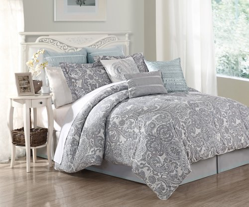 Image of: Gray Damask Bedding Set