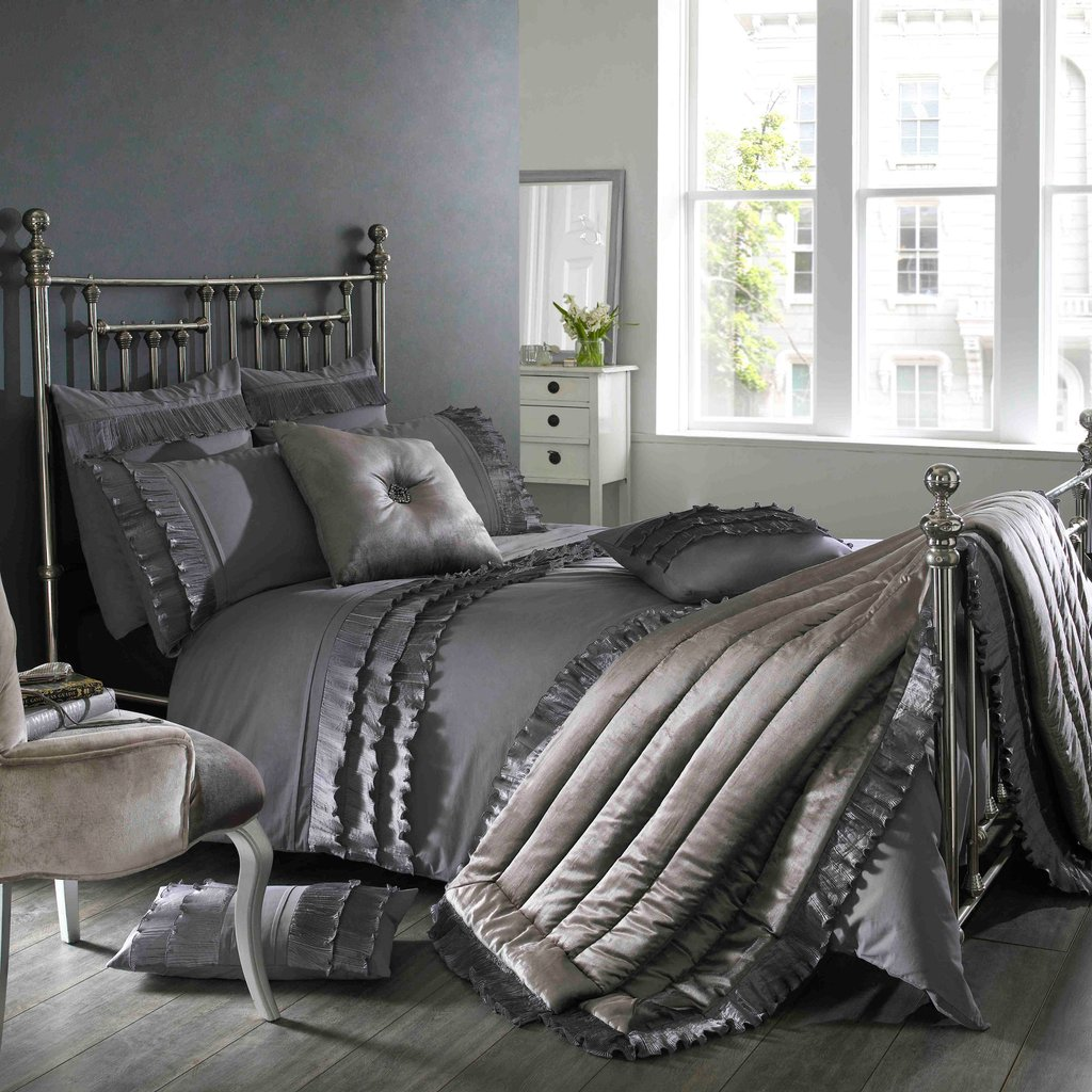 Image of: Kylie Ionium Kitten Grey Bedding Set Day Delivery How to Design Gray Bedding Set