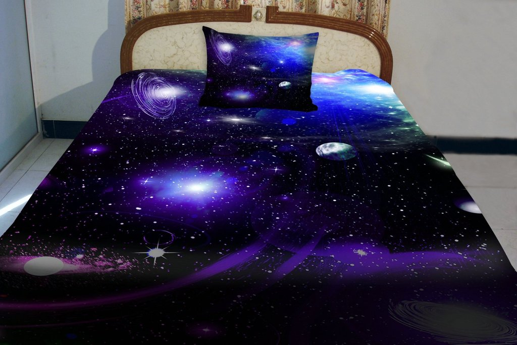 Image of: Outer Space Birthday Cake Idea Design Galaxy Bed Set Queen Themed
