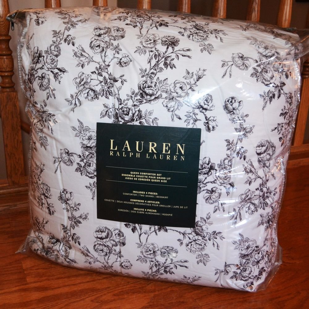 Image of: Ralph Lauren Black White Toile Floral Cottage Chic Queen Romantic Interior French Country Bedding Sets