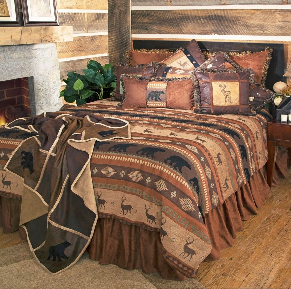 Image of: Rustic Cabin Lodge Bedding Set Deer Bear Autumn Trail Newest Trends Decoration Country Bed Sets