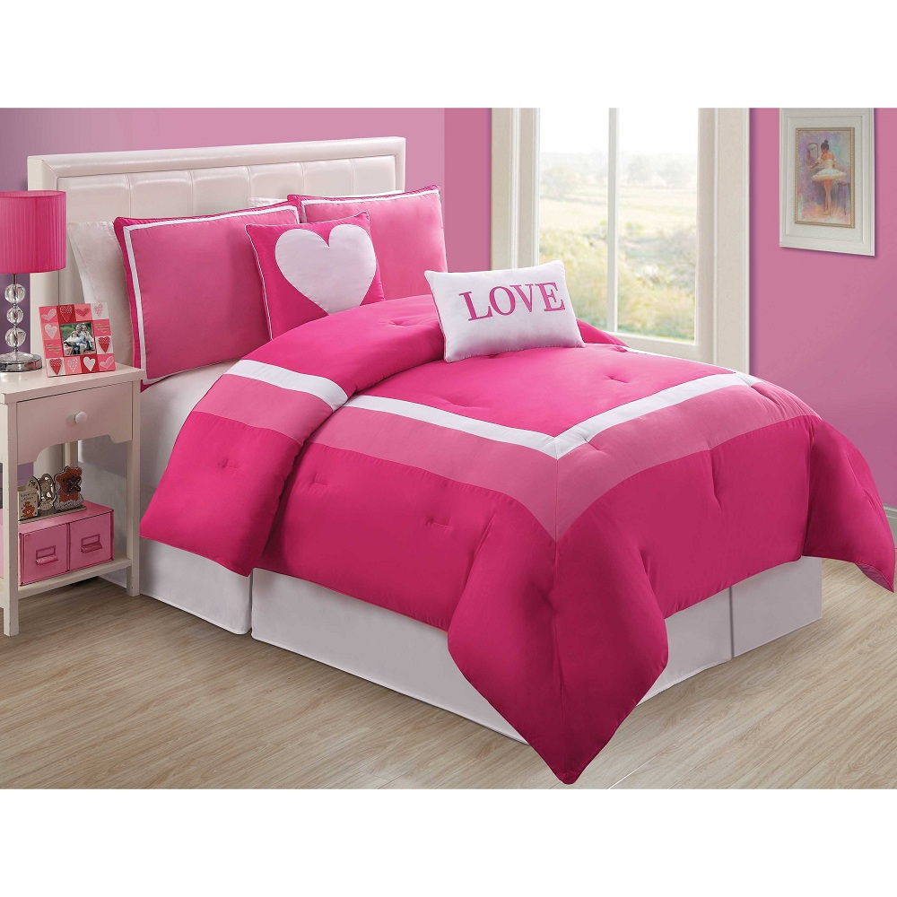 Image of: Solid Pink Comforter Twin