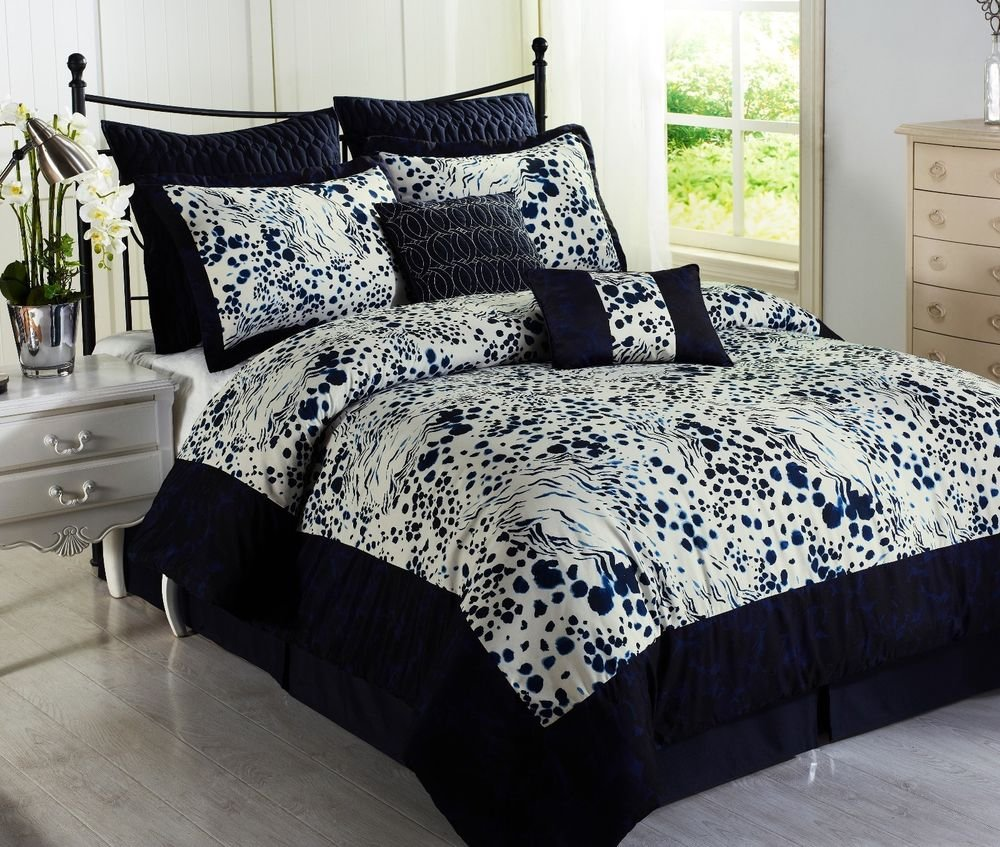Image of: Splash Blue 8pc Comforter Set Animal Print Navy White Romantic Interior French Country Bedding Sets