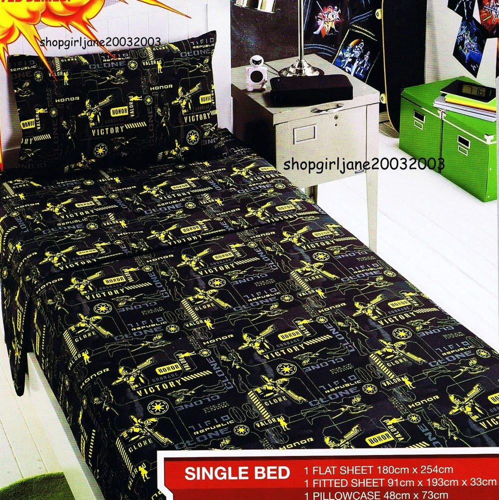 Image of: Star War Clone War Single Twin Bed Fitted Sheet Star Wars Bed Set Ideas