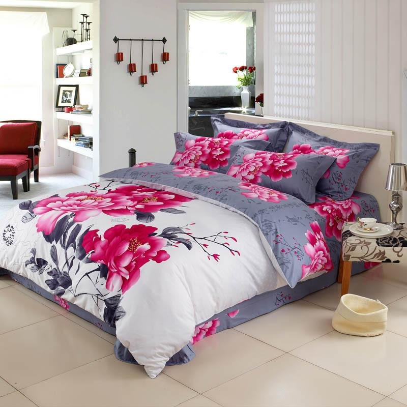Image of: White Red Grey Peony Flower Print Chinese Inspired Newest Trends Decoration Country Bed Sets