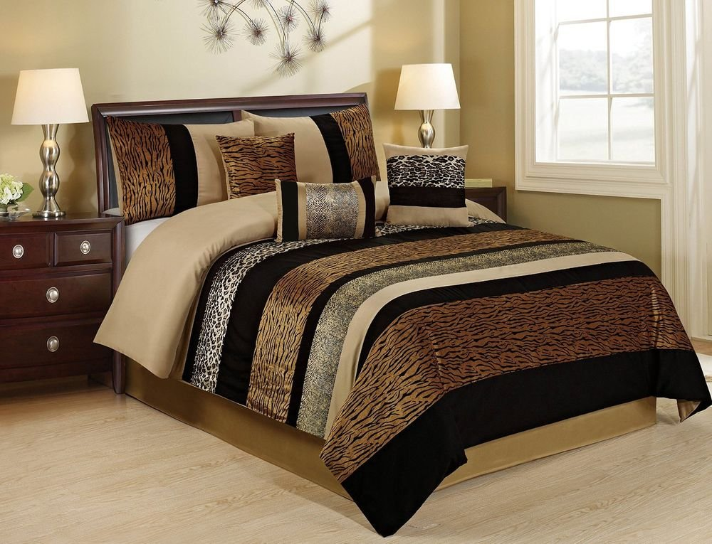 Image of: 7 Piece Sambar Leopard Cheetah Tiger Print Patchwork Wonderful Ideas Toddler Bed Sets Boy
