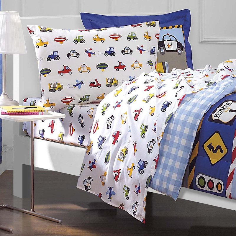 Image of: Cars Trucks Airplane Police Car Bedding Boy 5pc Wonderful Ideas Toddler Bed Sets Boy