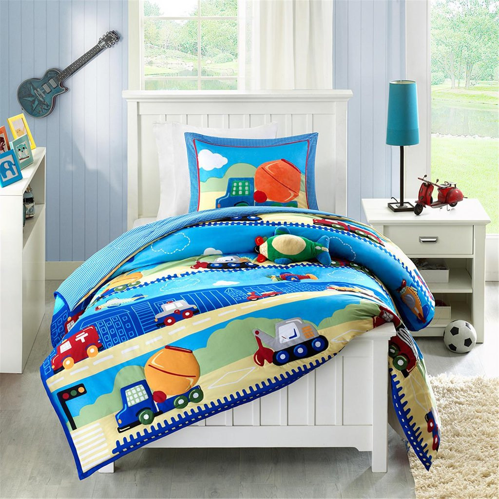 Image of: Construction Truck Boy Bedding Twin Full Queen Blue Wonderful Ideas Toddler Bed Sets Boy