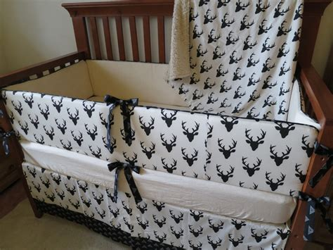 Image of: Hunting Baby Bedding White Monochrome