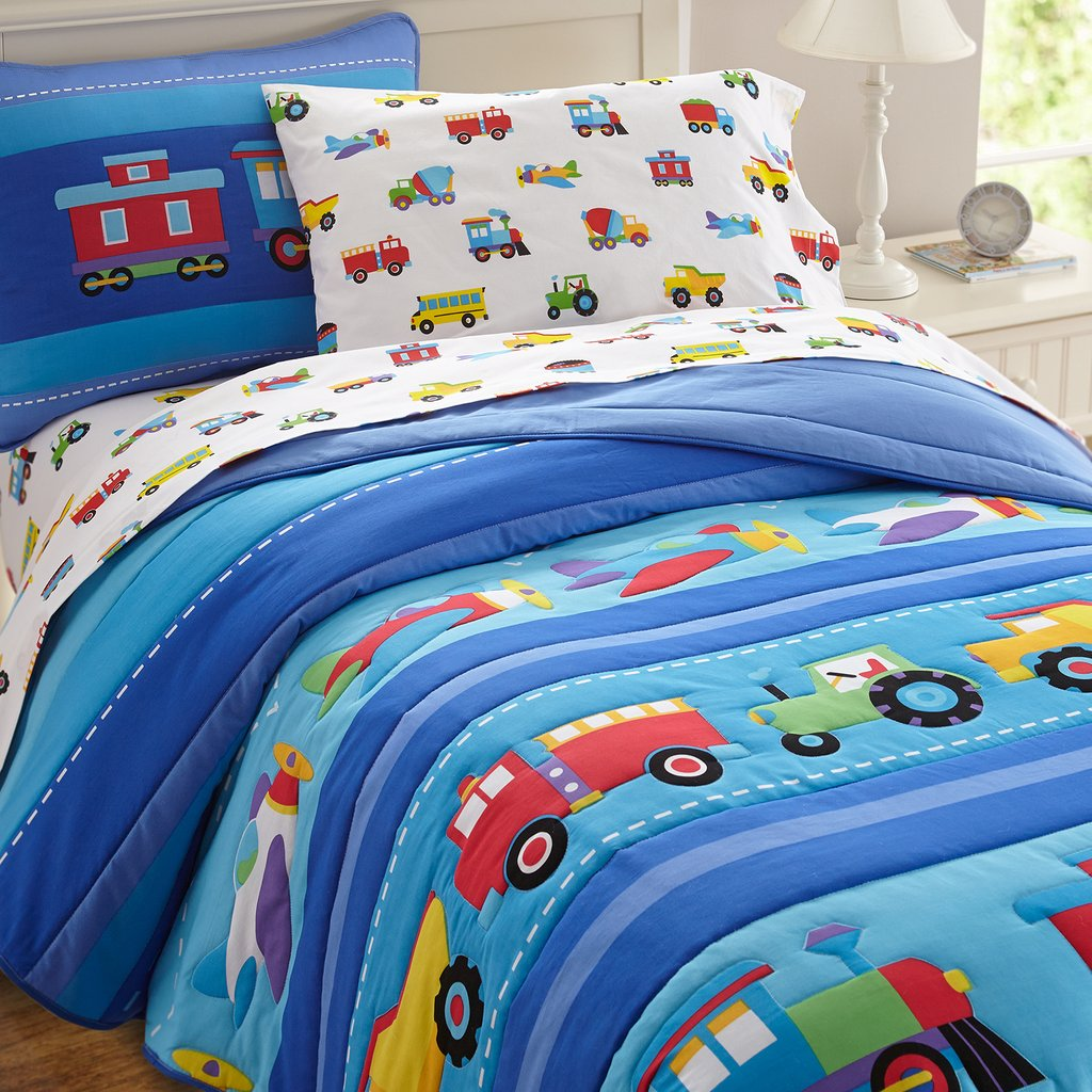 Image of: Train Air Plane Fire Truck Boy Bedding Twin Full Queen Wonderful Ideas Toddler Bed Sets Boy