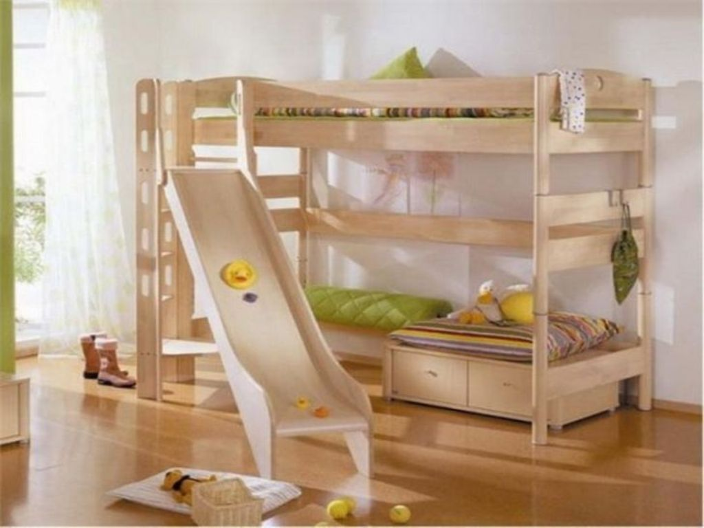 Image of: Double Bunk Bed With Slide Design