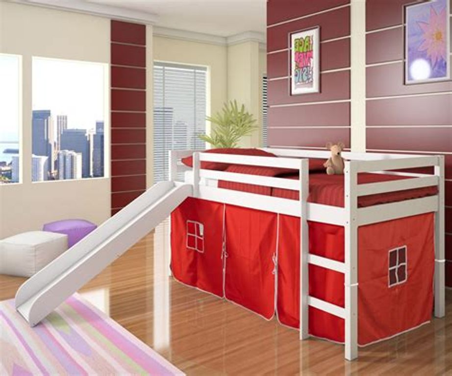 Image of: Kids Bunk Bed With Slats Slide And Canopy