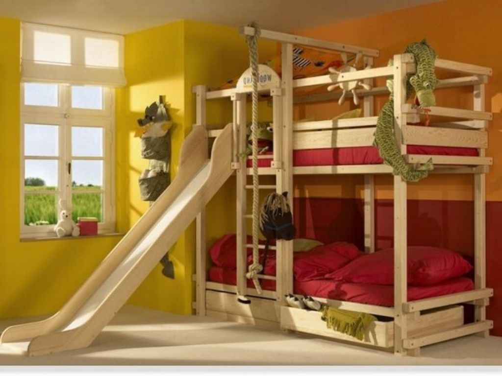 Image of: Kids Bunk Bed With Slide And Storage Ideas