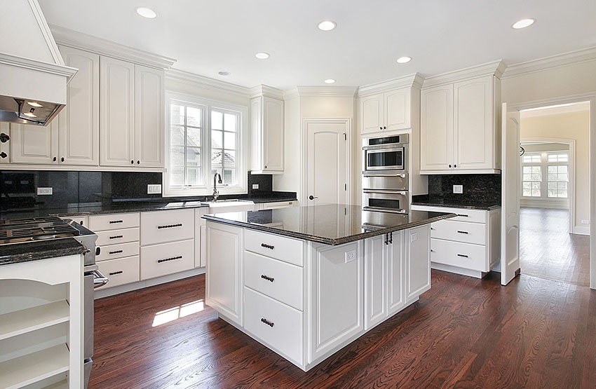 Image of: Black Granite Countertops With White Cabinets