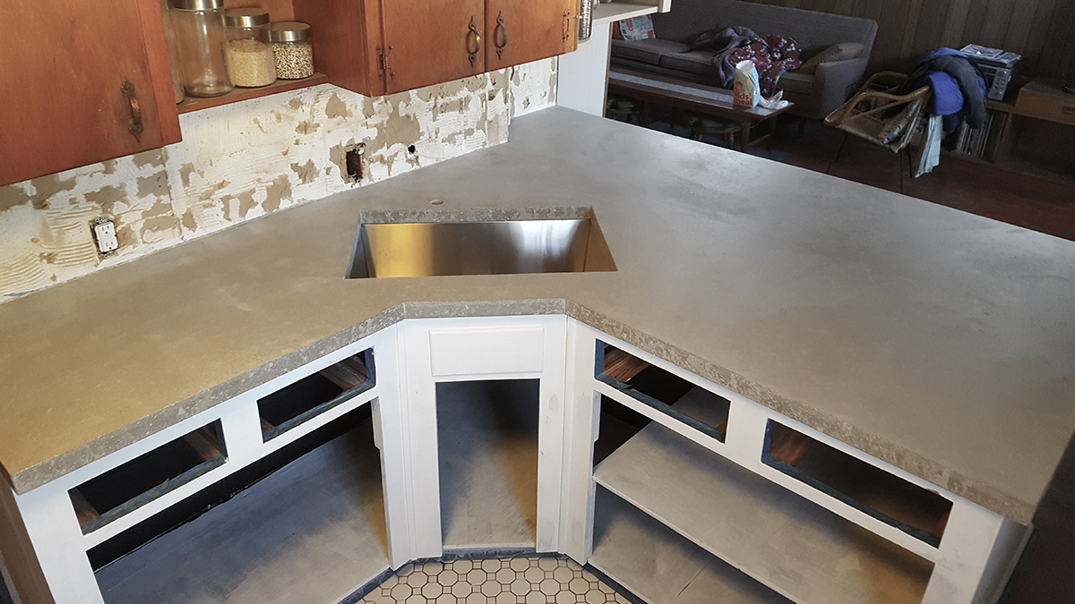 Image of: Cast In Place Concrete Countertop Overhang