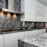 Gray Marble Countertops Kitchen With Veigns