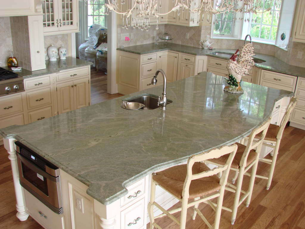 Image of: Green Granite Countertops With Cream Cabinets