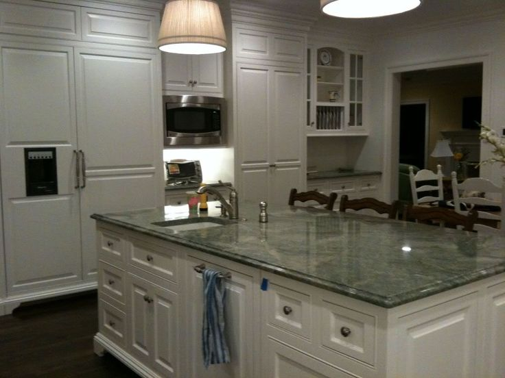 Green Granite Countertops With White Cabinets