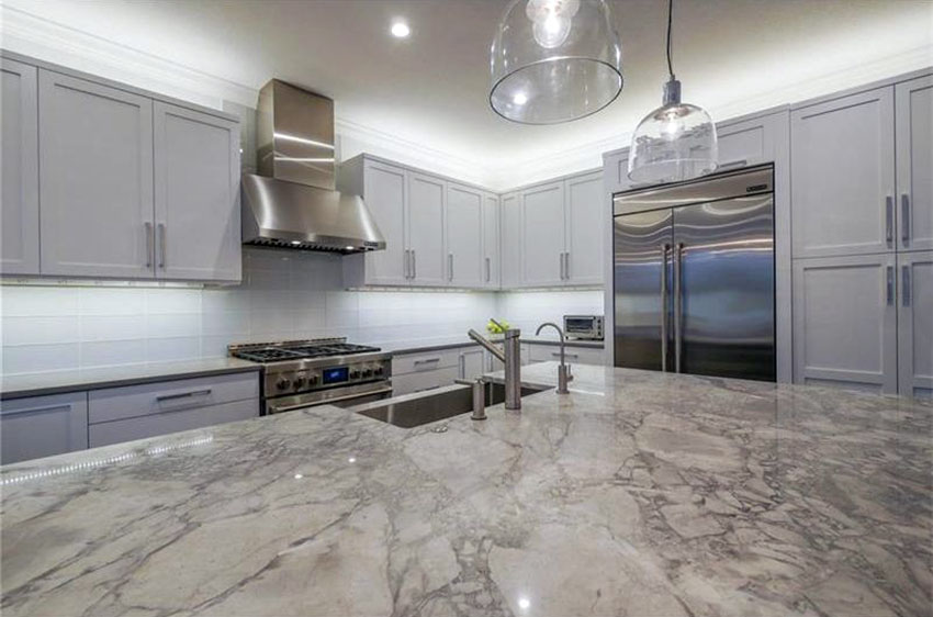 Image of: Grey Marble Countertops With White Cabinets