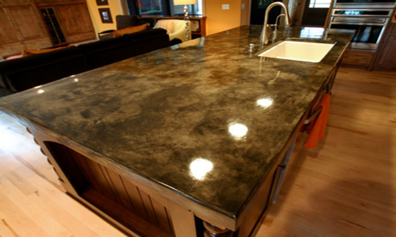 Image of: How To Make Stained Concrete Countertops