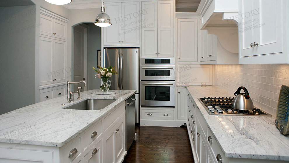 Image of: Kitchens With River White Granite Countertops