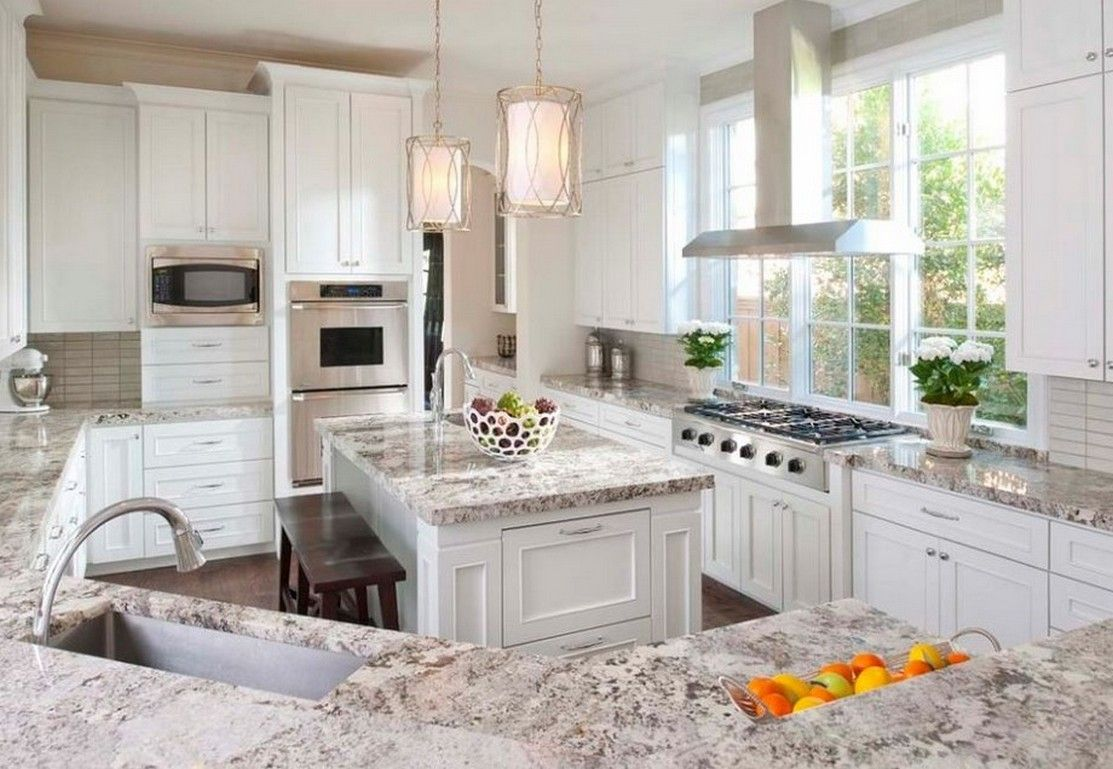 Image of: Light Granite Countertops With White Cabinets
